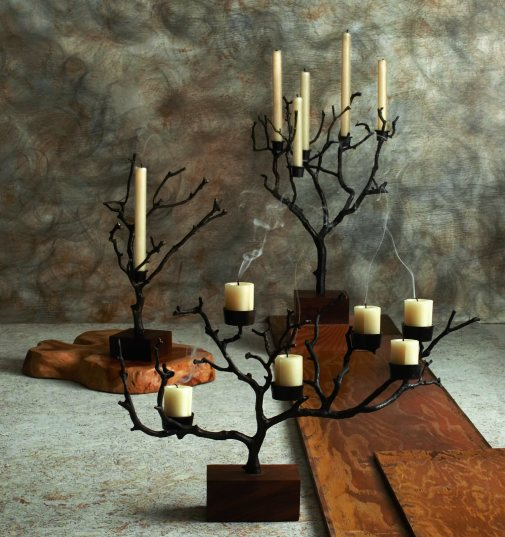Bronze and teak candelabras