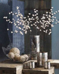 A winter table scape of  accessories.