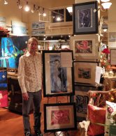 Artist Nick Brakel with his collograph seabird series.