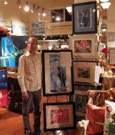 Artist Nick Brakel with his collograph seabird series.