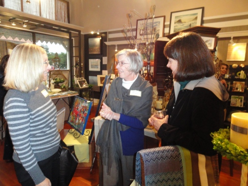 Sue Blindheim, emerging artist, Dianne Widdop  and an art patron at the March 2nd Art Opening.