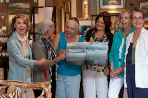 Denise Fairweather, Jan Richardson, Carol Thompson, Shirley Yates, Dianne Widdop and Patricia Clark-Finley.   Carol Thompson, artist, is doing a show and tell about  the  New York Lincoln Performing Art Center program that featured her ocean scape art for the2013 summer opera season.