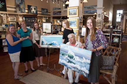 Sisters in mission from Utah, will serve as hostesses for the August 3rd Art Walk.  Came for  a dress rehearsal.