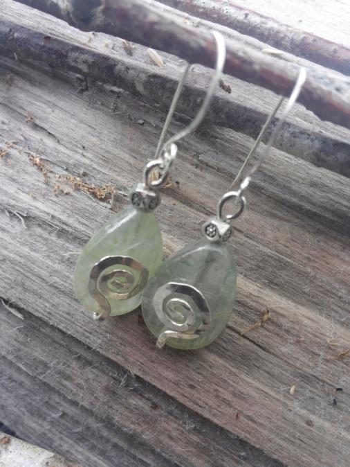 Aquarmarine gemstones with hammered sterling