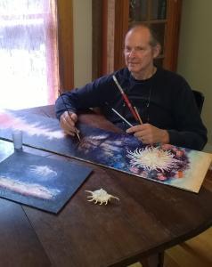 Artist Jan Shield working on in his studio.