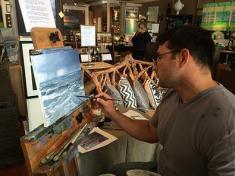 Rodney Martinez painting LIVE at Fairweather's.