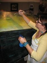 Painting Seaside LIVE (tm) artist Kimberly Reed.