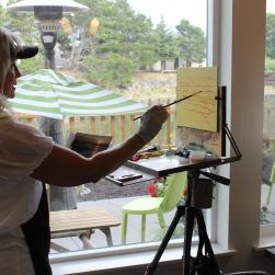 Painting LIVE artist Victoria Brooks.