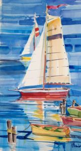 Harbor Boats painting LIVE during Seaside First Saturday Art Walk at Fairweather's.