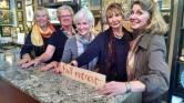 Fairweather hostesses: Kay, Kathy F., Joan, Ellen and Denise.
