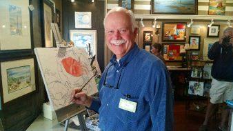 Artist Paul Brent painting LIVE