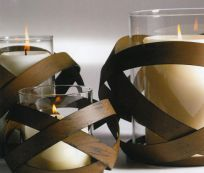 Woven candle holders.