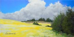 "6""x12"" pastel plein air painting of canola field, trees, house, clouds, in Banks, Oregon"