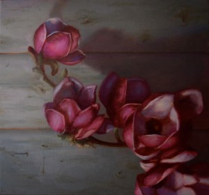 Oil Painting of pink Magnolia flowers against a weathered door