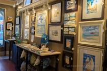 Gallery display of art by Paul Brent.