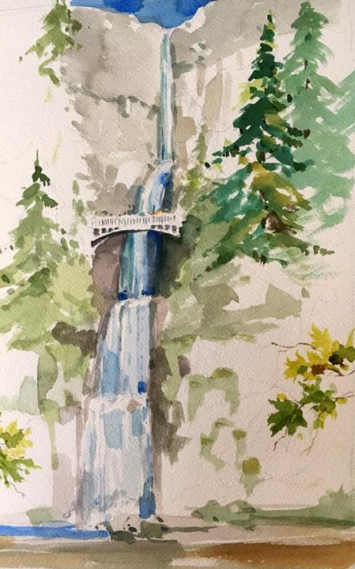 Paul Brent watercolor of Multnomah Falls on the Columbia River