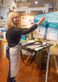Artist Victoria Brooks paints LIVE at Fairweather's.