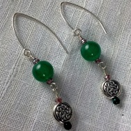 Emerald and pewter earrings