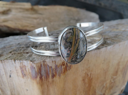 Jasper gemstone and sterling silver cuff.