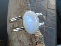 Moonstone gemstone and sterling silver cuff.