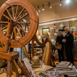 Close up of the 1800's family spinning wheel.