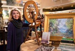 Gallerist and current care taker of the family spinning wheel, Denise Fairweather.