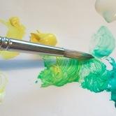 A green paint palette