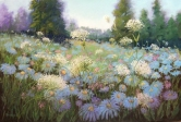 Pastel painting of blue asters