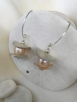 Champagne Pearls & Silver Disks on Sterling
