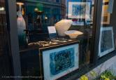 Front window display with Nick Brakel's art.