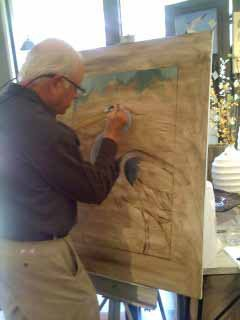 Paul Bernt starts a painting