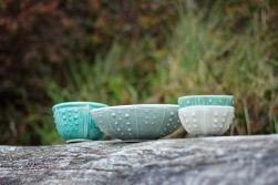 Urchin bowls in sea mist, cornflower blue, aqua, shell pink and cream