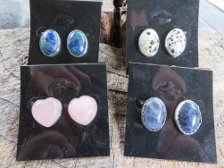 Handcrafted stone post earrings