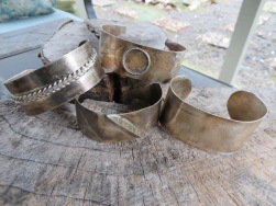 Hammered silver cuffs