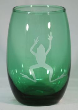 Frog beverage glass by Rox Heath