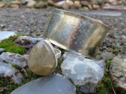 Hammered cuff and ring.