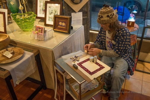 Mike Mason demonstrated the art of pressed flowers.
