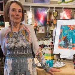 Jo Pomeroy-Crockett with her pear art.