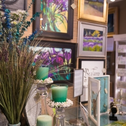 Perfect Pair display featuring art by Greta Lindwood and Lisa Wiser.