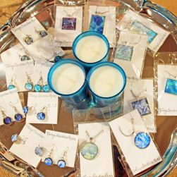 Painted glass jewelry by Tanya Gardner