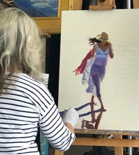 Work in progress will be completed at the July 7 Art Walk by Victoria Brooks.