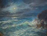"""Moonlight over the Ocean"" oil on linen by Ron Nicolaides"
