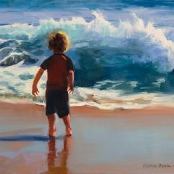 """Surfer Boy"" original oil on linen. Victoria Brooks"