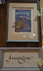 Turtle painting with flowers by Mike Mason, calligraphy by Penelope Culbertson