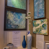 Encaustic and cold wax art by Peg Wells, necklace by Mary Boitta
