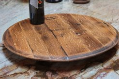 Wine barrel lazy susan by Mike Morris