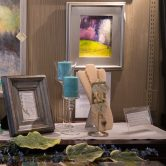 Couture Celtic jewelry by Mary Hurst, oil landscapes by Lisa Wiser, large painting by Bev Drew Kindley and antique poem framed