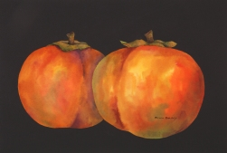 Persimmons III watercolor with gold leaf