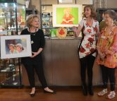 Art by Carolynn Wagler with gallery hostess.