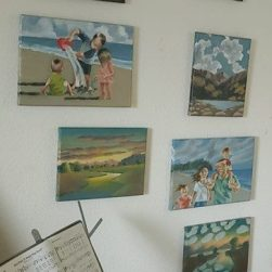 Sharon Johnson's art on display at home before OUTSIDE INTERESTS.